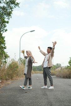 Couple, Happy, Freedom, Road, Woman, Man, Excited, Joy