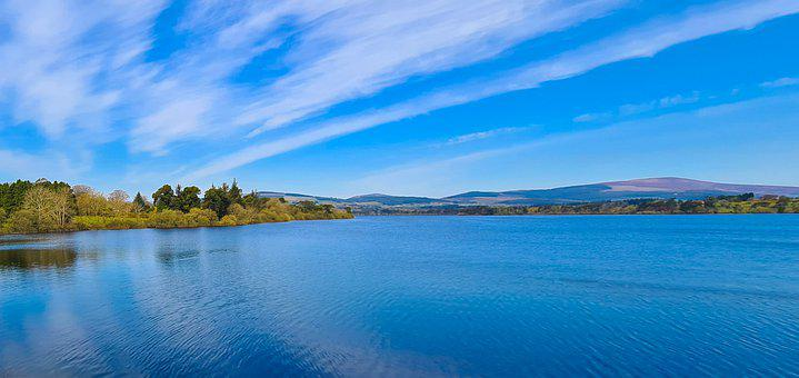 Lake, Reservoir, Mountains, Clouds, Scenery, Vartry