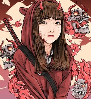 Demon, Woman, Skulls, Ninja, Blood, Girl, Horns, Murder