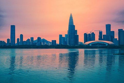 Shenzhen Bay, The Sea, City, Skyline, Building