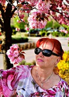 Spring, Portrait, Blossom, Bloom, Hair, Person, Human