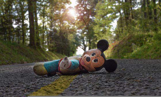 Mickey Mouse, Stuffed Toy, Road, Pavement, Toy