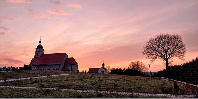 Church, Meadow, Sunset, Sunrise, Field, Building