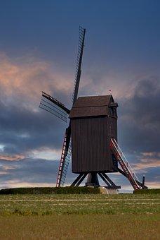 Windmill, Field, Countryside, Wooden Windmill
