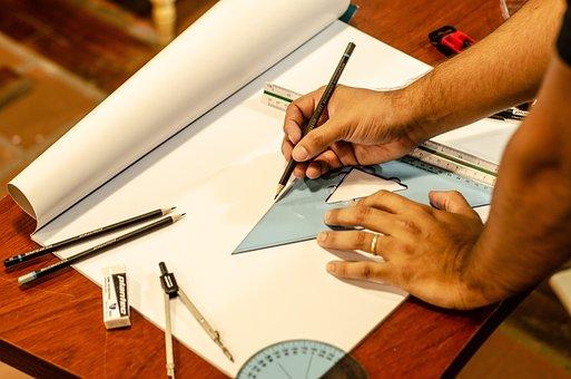 Pencil, Ruler, Measurements, Architect, Drawing