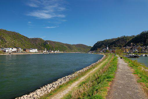River, Road, Mountains, Water, Town, Buildings, Bank