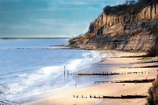 Beach, Isle Of Wight, Clear Sky, Waves, Peaceful Beach