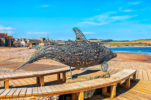 Sculpture, Metal, Stones, Dolphin, Bench, Beach, Sea