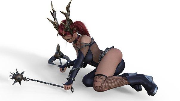 Woman, Demon, Devil, Fantasy, Evil, Dark, Mystic, Girl