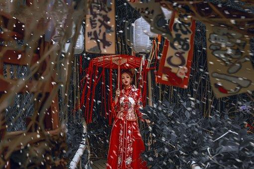 Girl, Qipao, Chinese Wedding Dress, Ancient, Snow