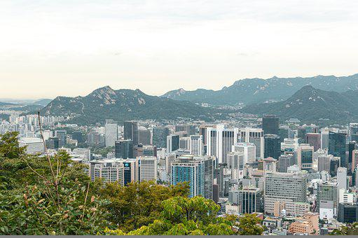 Seoul, City, Skyscrapers, Mountains, Panorama