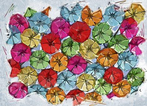 Umbrellas, Rain, Weather, Colorful, Arrangement