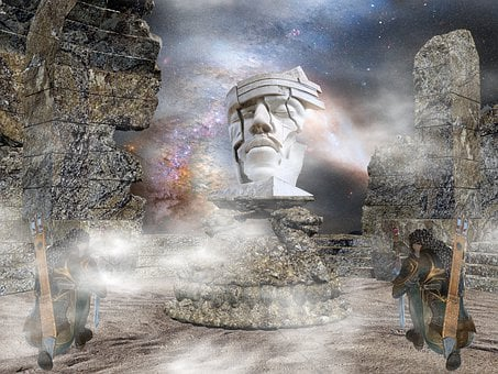 Warrior, Composing, Clouds, Pray, Statue, Photomontage