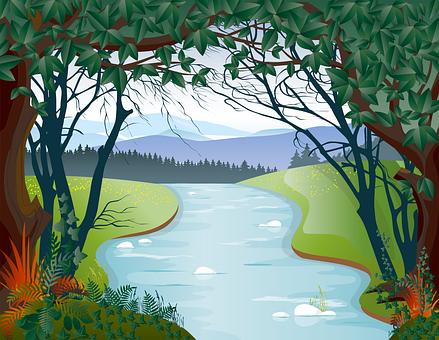 River, Trees, Field, Brook, Creek, Stream, River Bank