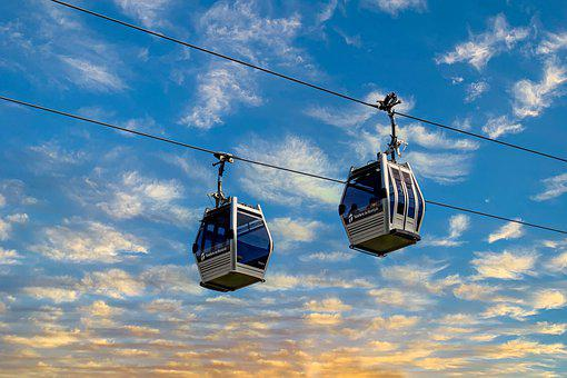 Cable Car, Sky, Clouds, Cable Transport, Cables, Cabins