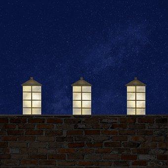 Wall, Brick, Lantern, Candle, Night, Summer, Light