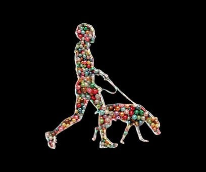 Dog, Man, Beads, Abstract, Pet, Animal, Leash, Design