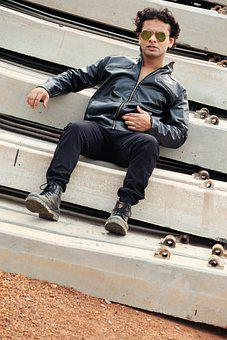Fashion, Model, Man, Indian, Leather Jacket, Pose