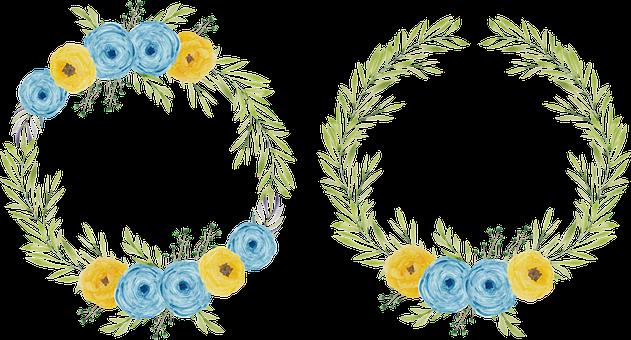 Frames, Wreath, Flowers, Rose, Leaves, Bloom, Blossom