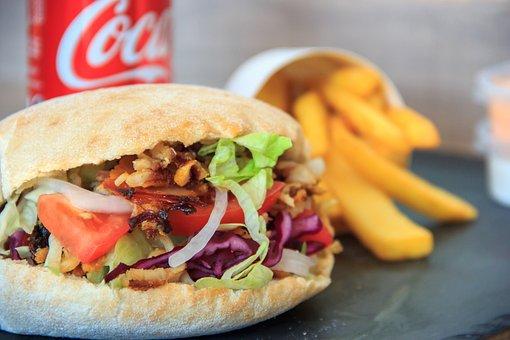 Kebab, Wrap, Pita, Meat, Meal, Vegetables, Food, Dish