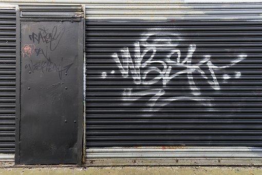 Door, Graffiti, Metal, Urban, Vandalism, Dilapidated