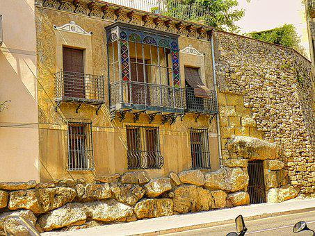 Houses, Buildings, Facade, Balcony, Spain, Barcelona