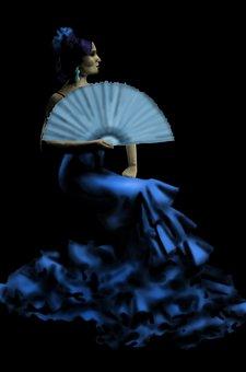 Flamenco, Lady, Fan, Spanish, Woman, Dress, Dancer