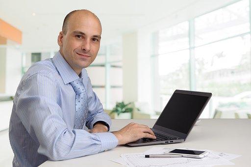 Man, Laptop, Work, Smile, Pose, Office, Guy, Working