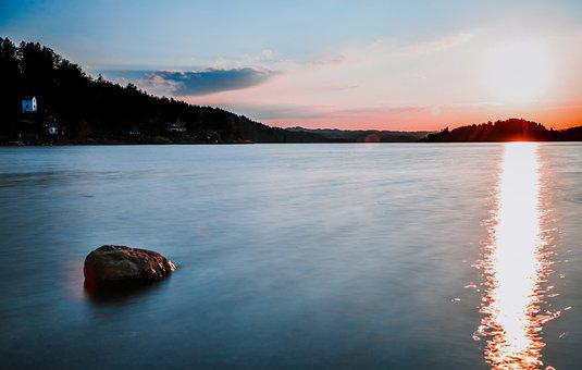Lake, Sunrise, Sunset, Water, Alps, Mountains