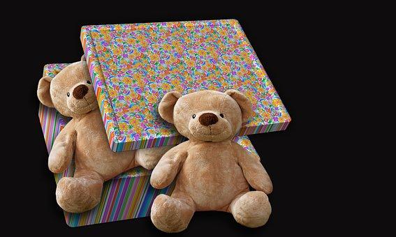 Teddy Bear, Box, Tenderness, Sweet, Plush Animal, Play