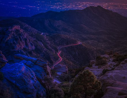 Mountain, Night, Rocks