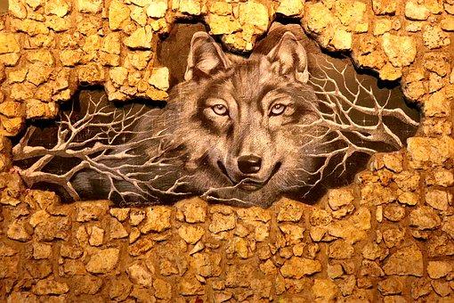 Wolf, Wall, Mural, Stone Wall, Animal, Wildlife, Art
