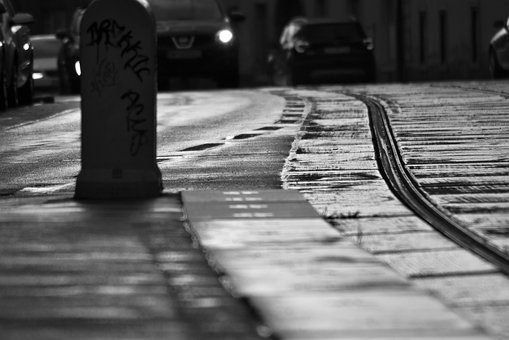 Black And White, Streets, Vienna, City, Road, Old, Tram