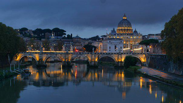 Rome, Church, Vatican, Blue Hour, Italy, Roma