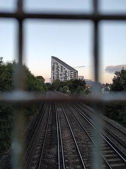 Railroad, City, Fence, Railway, Rail, Rail Tracks