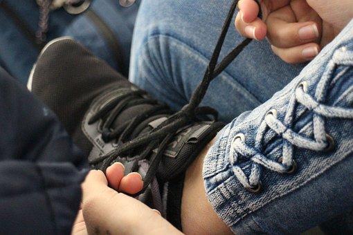 Shoelace, Tying, Fingers, Foot, Shoe, Pants