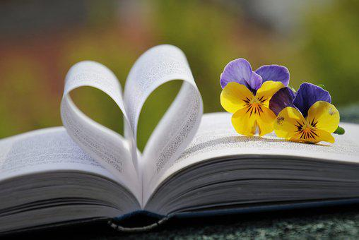 Book, Heart, Pansies, Pages, Heart Shape, Love, Flowers