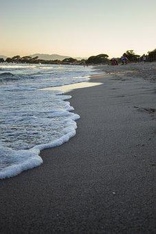 Beach, Shore, Sea, Horizon, Sea Foam, Spume, Waves, Ebb