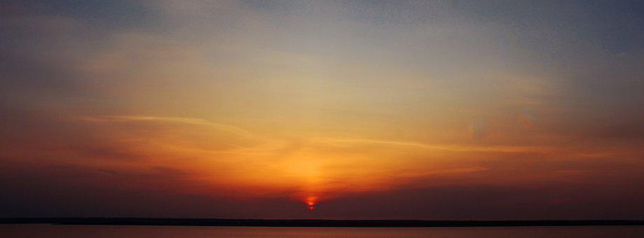 Sunset, Water, Lake, Himmel, Blue, Orange, Red, Yellow