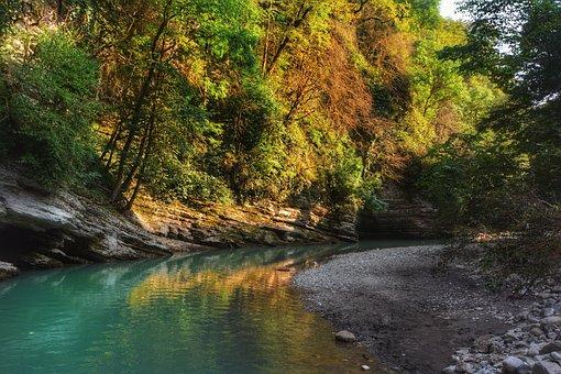 River, Mountains, Landscape, Nature, Trees, Travel