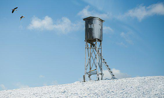 Lookout Tower, Snow, Winter, Hunting Tower, Hunter Seat