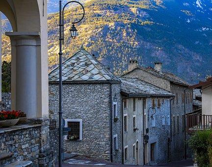 Village, Street, Mountain, Alley, Town, Houses