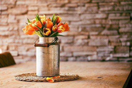 Flowers, Tulips, Vase, Centerpiece, Table