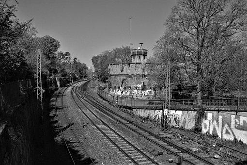 Railroad, Abandoned Building, Monochrome, Railway
