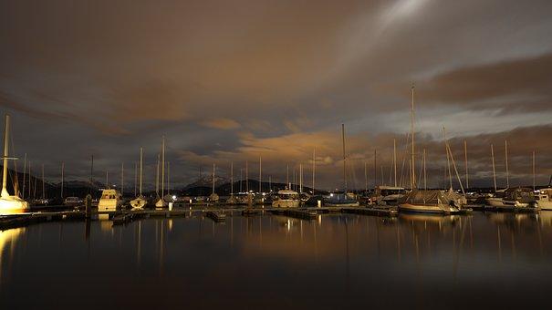 Port, Boats, Night, Bay, Water, Reflection, Harbor