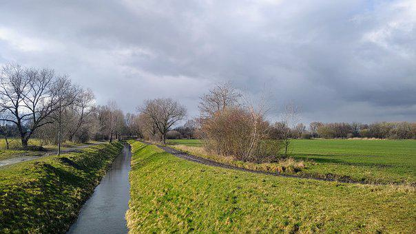 Germany, Brandenburg, Nature, Clouds, Grass, Canal