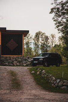 Car, House, Outdoors, Vehicle, Path