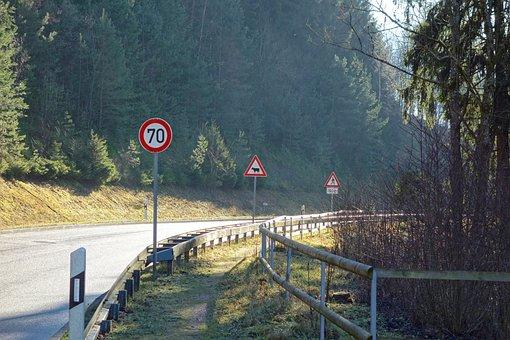 Road, Traffic Sign, Forest, Walk, Asphalt