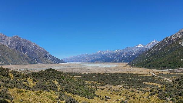 Lake, Mountains, Valley, Lake Pukaki