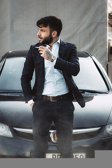Man, Model, Car, Cigarette, Smoking, Suit, Fashion